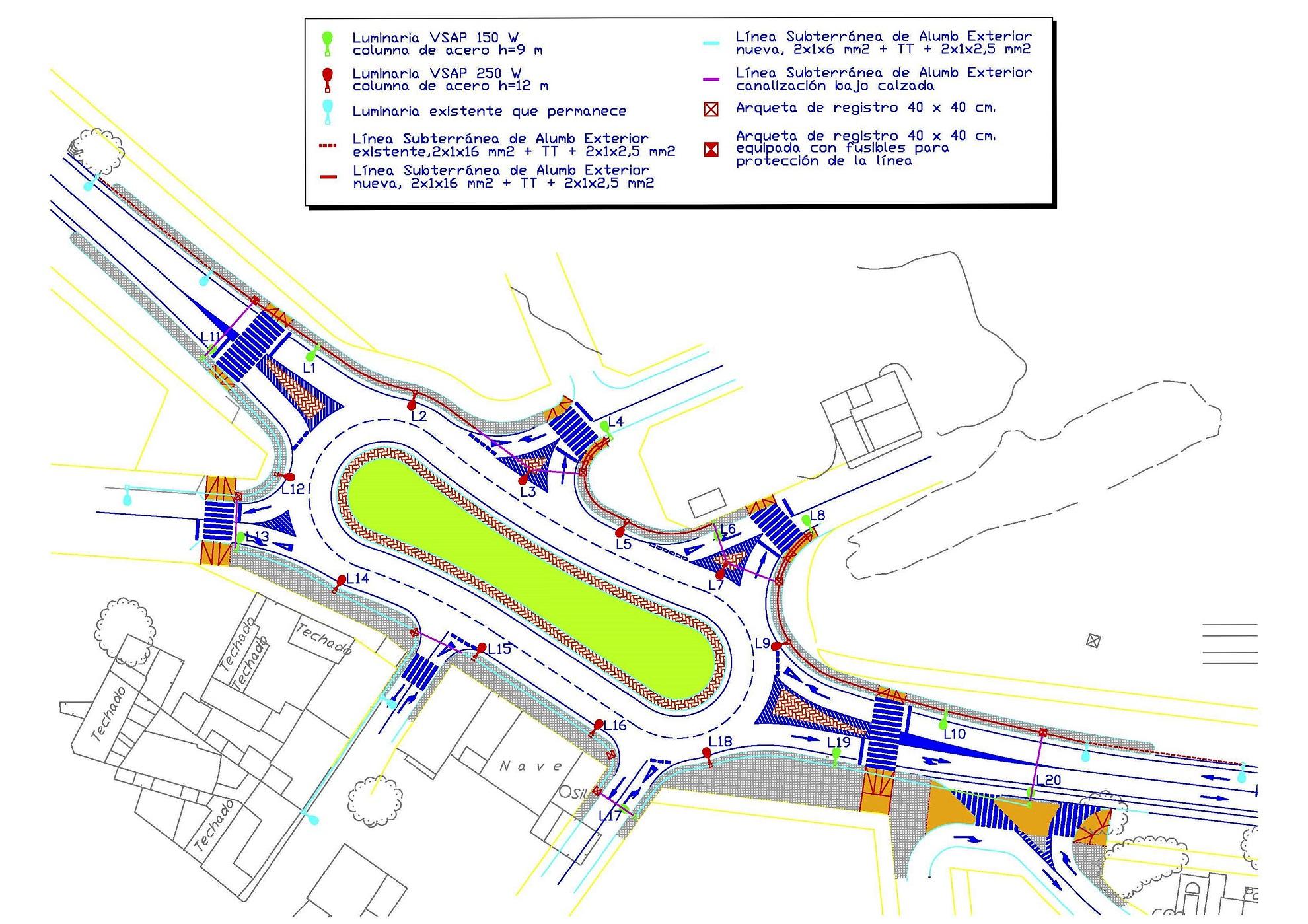 Proyecto de Alumbrado para glorieta en la Avenida Principe de Asturias en pedanía de Paretón, Totana, Murcia